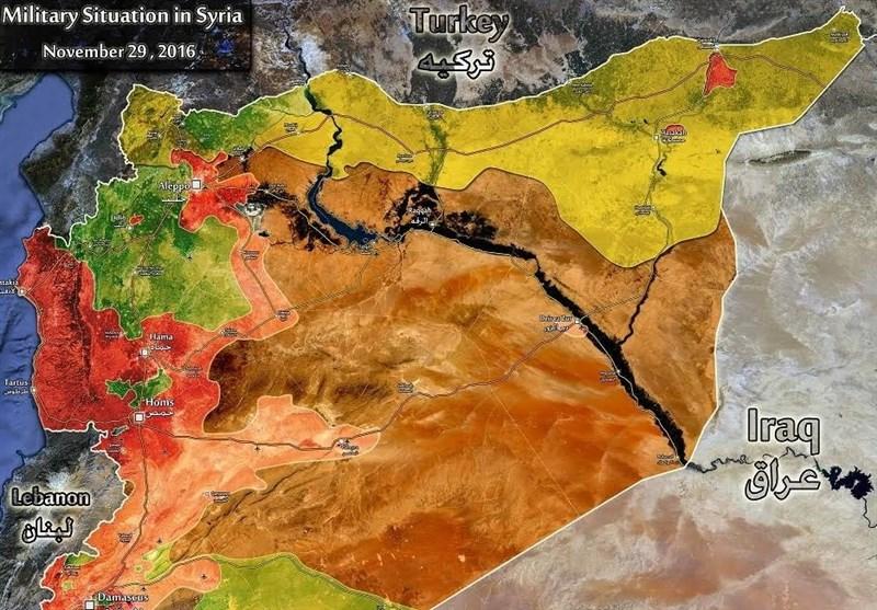 آخرین تغییرات نقشه میدانی سوریه از یک سال اخیر/کدام مناطق در کنترل ارتش و کدام مناطق در اشغال تروریستهاست؟+ نقشهها