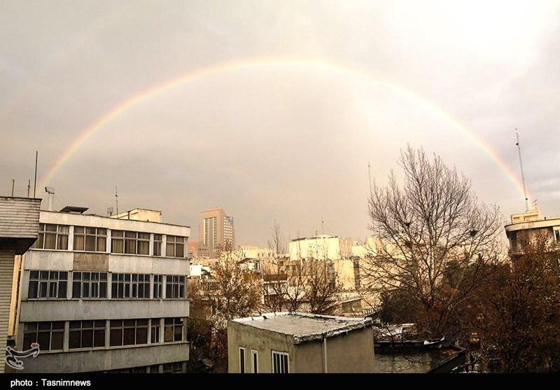 رنگین کمان بی نظیر در تهران , تصاویر زیبای رنگین کمان, مناظر زیبای رنگین کمان, عکس رنگین کمان در تهران