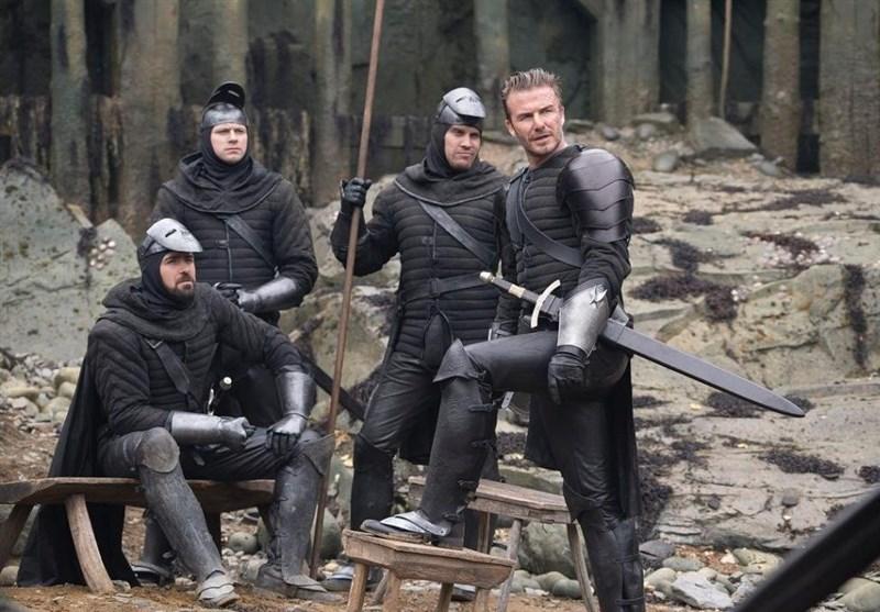 دیوید بکام با شمشیر و زره در صحنه «شاه آرتور» + عکس