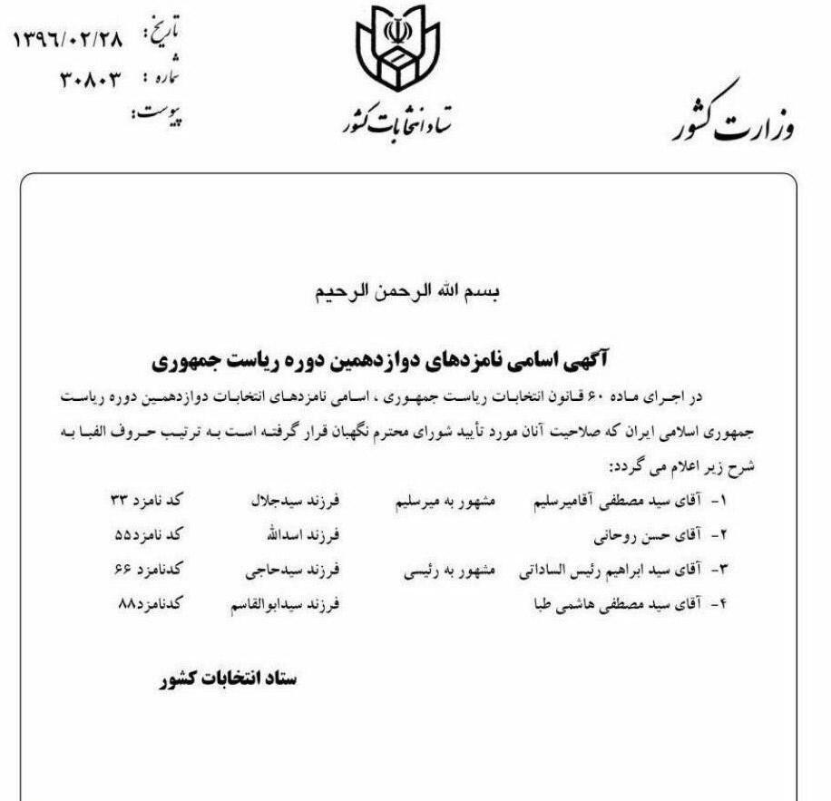 از سوی وزارت کشور کد کاندیداهای انتخابات ریاستجمهوری منتشر شد +تصویر