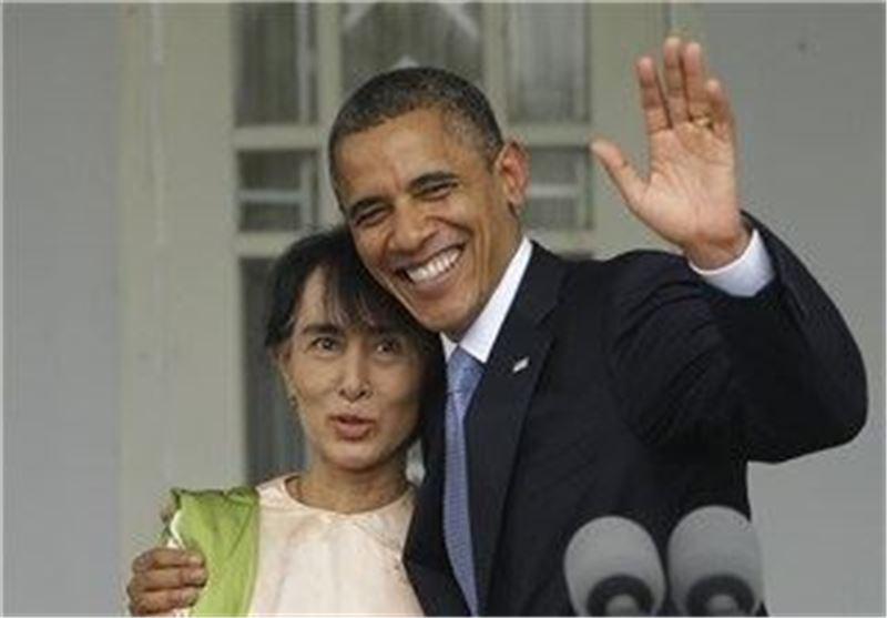 اوباما، آنگ سان سوچی، آمریکا، میانمار