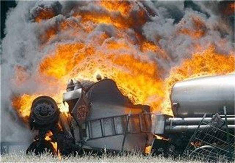 آتش گرفتن کامیون خودروی حمل سوخت