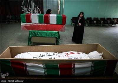 پیکر تازه تفحص شده شهید قدرت الله سرلک در معراج شهدای تهران