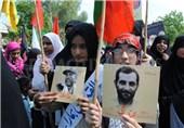 تصاویر سرداران شهید ایرانی؛ پلاکاردهای دختران پاکستانی در روز قدس+تصاویر