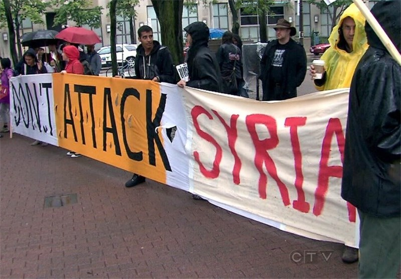 Protesters Rally at US Consulate in Toronto over Proposed Strikes against Syria