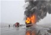 آتشسوزی اتوبوس در محور سنندج-دیواندره هیچ تلفات جانی نداشت