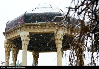 بارش برف حافظیه را سفید پوش کرد