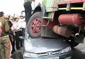 تصادف زنجیرهای 7 خودرو در جاده اهر- تبریز
