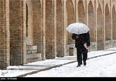 Snow Covers Historic City of Isfahan