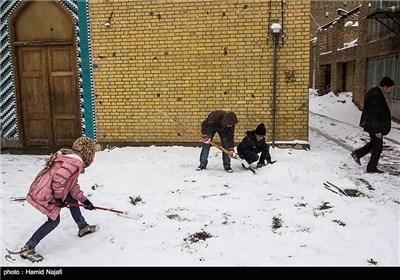 بارش برف در یزد و تفت