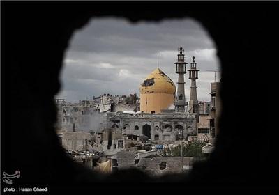 ساختمان حرم حضرت سکینه(س) که مورد حملات خمپاره ای مخالفین دولت سوریه قرار گرفته است./عملیات آزاد سازی حرم حضرت سکینه(س) در فروردین ماه 92