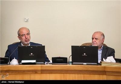 بیژن نامدار زنگنه وزیر نفت و حمید چیت چیان وزیر نیرو در جلسه هیئت دولت