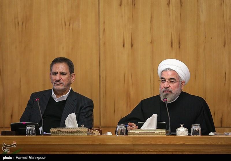 حجت الاسلام حسن روحانی رئیس جمهور و اسحاق جهانگیری معاون اول رئیس جمهور در جلسه هیئت دولت