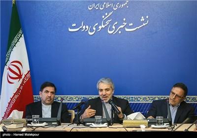ولی الله سیف رئیس کل بانک مرکزی، عباس آخوندی وزیر راه و شهرسازی و محمدباقر نوبخت سخنگوی دولت در نشست خبری