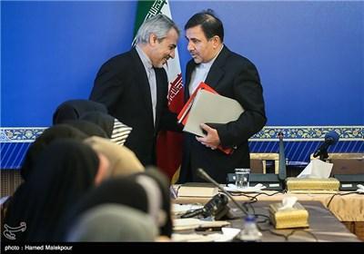 عباس آخوندی وزیر راه و شهرسازی و محمدباقر نوبخت سخنگوی دولت هنگام ورود به نشست خبری