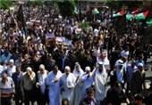 تظاهرات فلسطینیان در شمال نوار غزه در حمایت از مقاومت