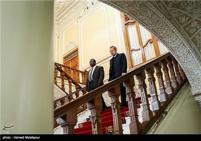 اکوا ایتورو رئیس مجلس سنای کنیا و علی لاریجانی رئیس مجلس شورای اسلامی هنگام ورود به محل کنفرانس خبری مشترک