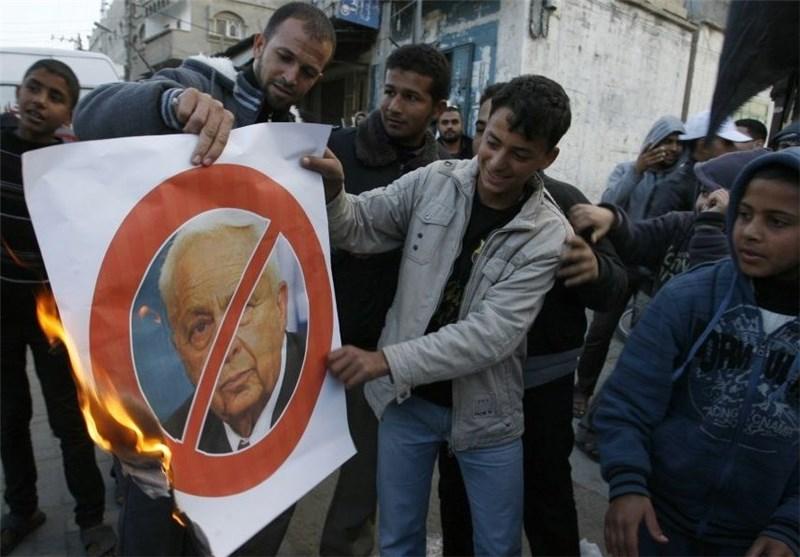 فلسطین اشغالی – خوشحالی مردم از مرگ آریل شارون