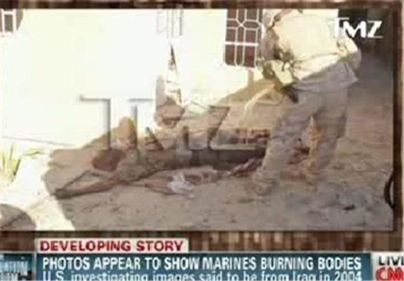 الصور تکشف : عسکریون امریکان یضرمون النیران فی اجساد العراقیین