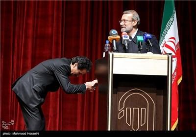علی لاریجانی رئیس مجلس در مراسم تجلیل از نخبگان و قهرمانان ورزشی سپاه حضرت محمد رسولالله(ص) تهران بزرگ