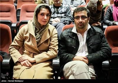 امین زندگانی و همسرش الیکا عبدالرزاقی در مراسم بزرگداشت فریبرز عرب نیا