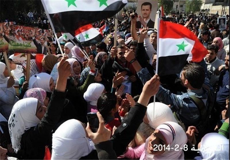 تظاهرات حاشدة فی دمشق وریفها دعما لعملیات الجیش السوری + فیدیو