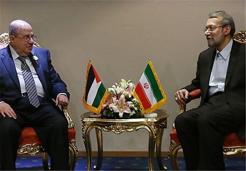 رئیس المجلس الوطنی الفلسطینی یلتقی لاریجانی ویؤکد : ایران مصدر قوة لشعبنا
