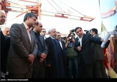 رئیس الجمهوریة یتفقد رصیف الشهید رجائی فی بندرعباس
