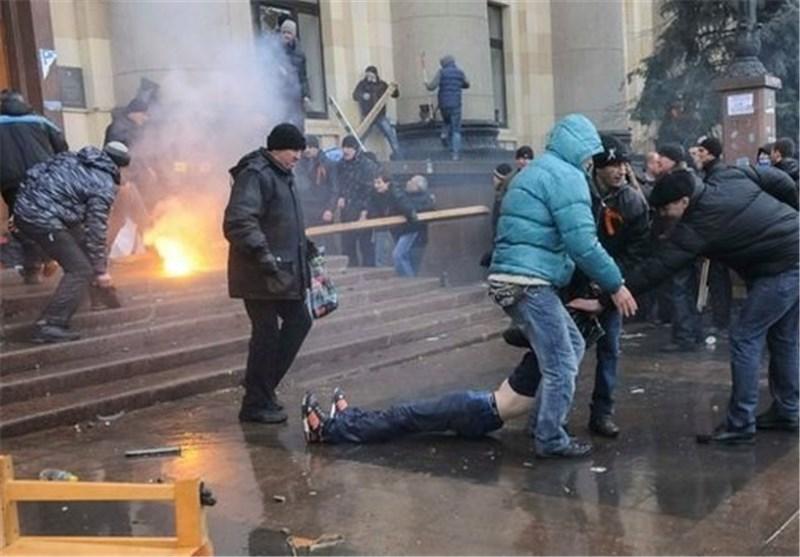 Masked Mob Savages Newspaper Office in Kiev