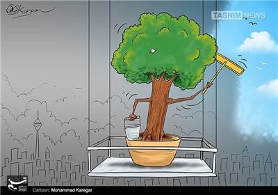 کاریکاتور/ تمیز کردن هوا توسط درخت