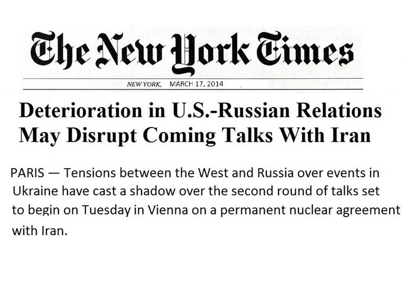 تیویورک تایمز : تدهور العلاقات الأمیرکیة - الروسیة سینعکس على المفاوضات مع إیران