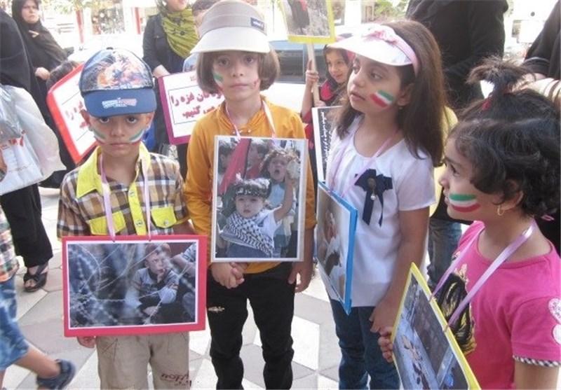 حمایت کودکان و نونهالان صومعه سرایی از کودکان غزه