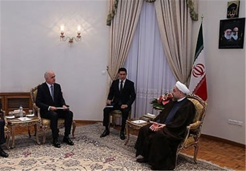 الرئیس روحانی یؤکد ضرورة المزید من تعزیز العلاقات الودیة بین طهران وباکو
