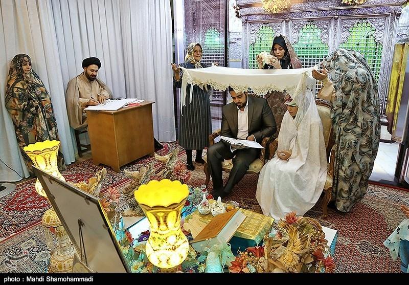 مراسم عقد زوج های جوان در آستان حضرت عبدالعظیم