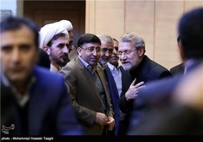 علی لاریجانی رئیس مجلس شورای اسلامی در پایان اولین همایش ملی منطقهای راهکارهای تحقق اقتصاد مقاومتی - مشهد