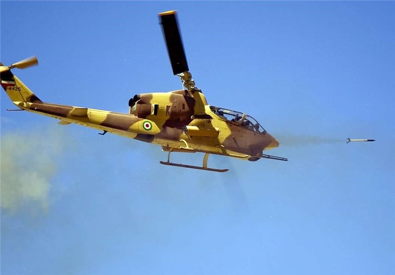 Iran Navy's Gunship Helicopter Takes Action in Drills