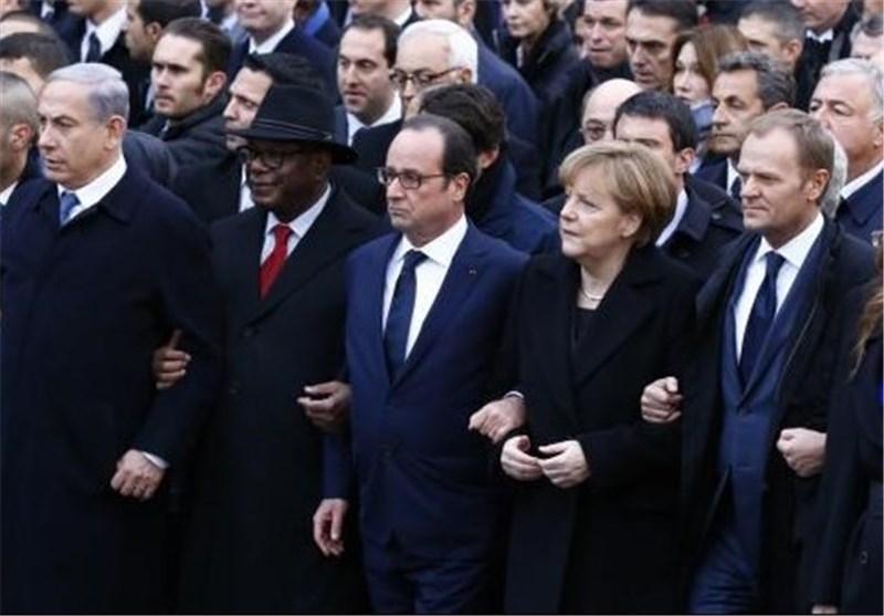 أقطاب ارهاب العالم ینظمون أکبر مسیرة وحدة فی فرنسا بینهم نتانیاهو + فیدیو
