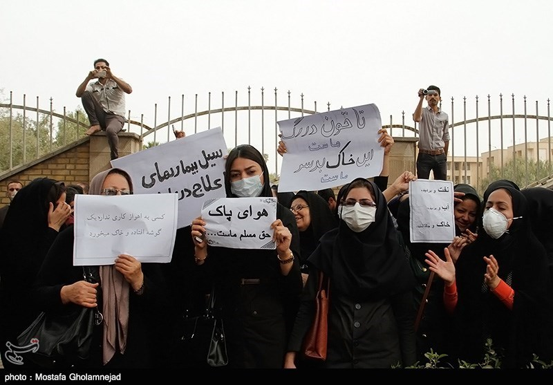 تجمع اعتراض آمیز مردم اهواز مقابل استاندرای