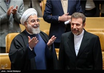 حجتالاسلام حسن روحانی رئیس جمهور و محمود واعظی وزیر ارتباطات و فناوری اطلاعات هنگام ورود به مراسم بزرگداشت روز فناوری فضایی