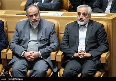محمدرضا صادق مشاور رسانهای رئیس جمهور و حسامالدین آشنا مشاور فرهنگی رئیس جمهور در مراسم بزرگداشت روز فناوری فضایی