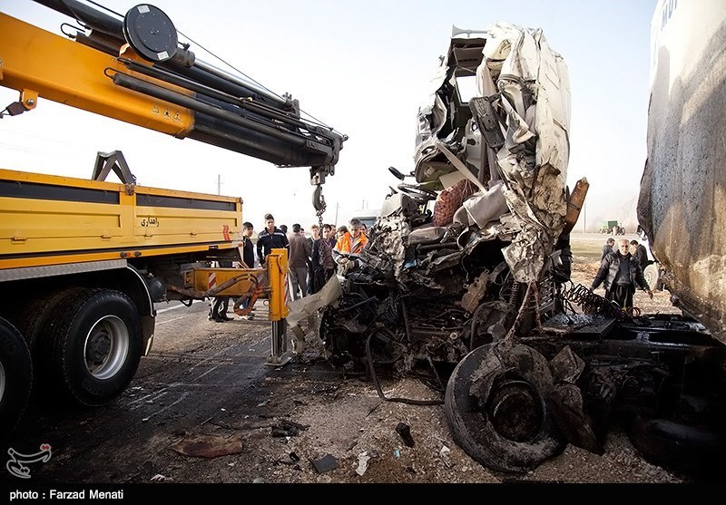 Four trucks collide in western Iran - IN PHOTOS