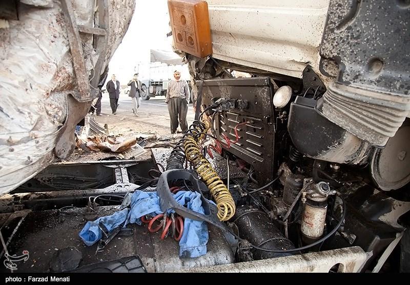 تصادف چهار دستگاه کامیون در محور سنندج-کرمانشاه