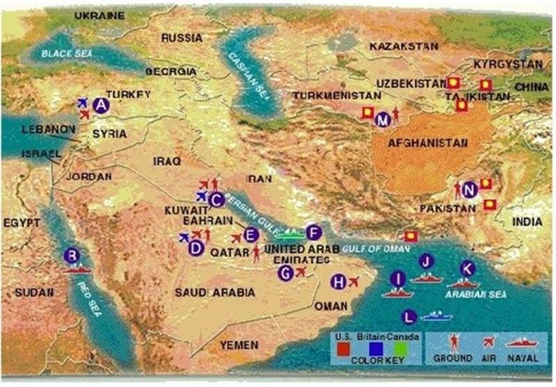 Image result for القواعد العسكرية الامريكية والغربية في الخليج