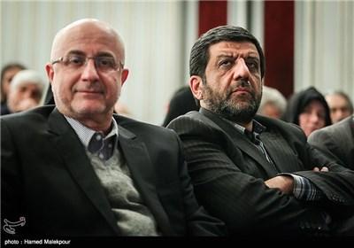 عزتالله ضرغامی و علی مرادخانی معاون هنری وزیر ارشاد در همایش تجلیل از جهادگران عرصه فرهنگ ، هنر و رسانه