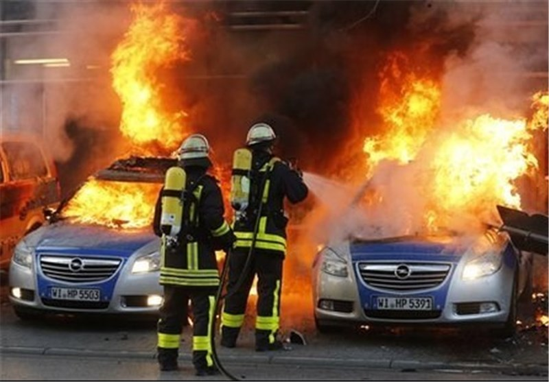 Police Cars Set Alight at Austerity Protest in Germany