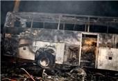"""""""نقص فنی"""" عامل آتشسوزی اتوبوس اسکانیا در محور اراک - توره"""
