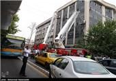آتش سوزی یک ساختمان اداری در خیابان ولیعصر(عج)