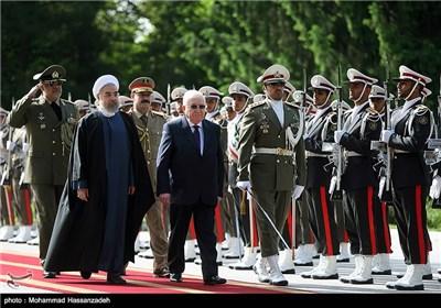 مراسم استقبال رسمی از فواد معصوم رئیسجمهوری عراق توسط حجتالاسلام حسن روحانی رئیس جمهور