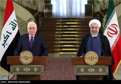 نشستخبری مشترک حجتالاسلام حسن روحانی و فواد معصوم رؤسای جمهور ایران و عراق