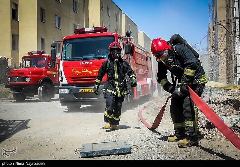مانور آتش نشانی و اطفاء حریق - مشهد
